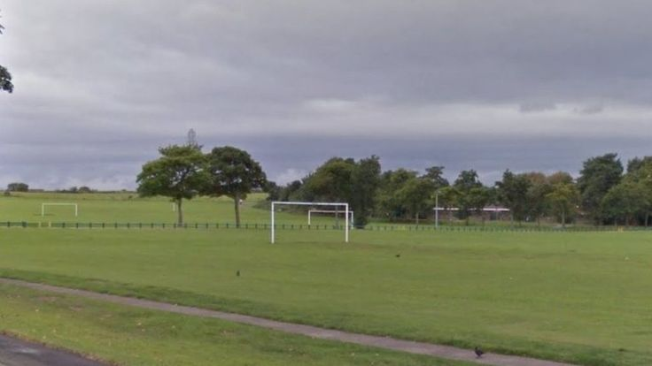 Image copyright                  Google             Image caption                                      The player had been taking part in a North West Men's League Division Four match at Heath playing fields in Runcorn                               An amateur rugby league...