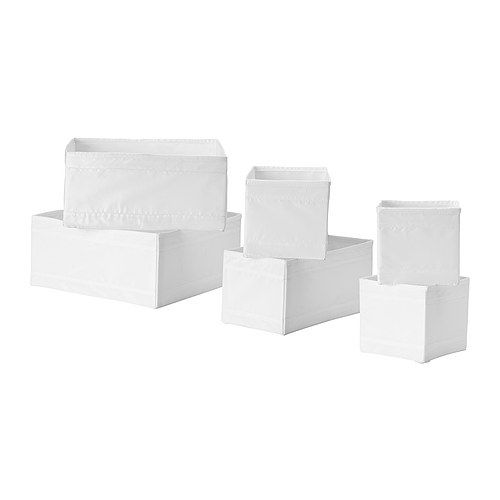 """SKUBB Box, set of 6, white Sizes: 5 1/2 x 5 1/2x5 1/8"""", 11x5 1/2x5 1/8"""" and 11x11x5 1/8"""", 2 of each."""