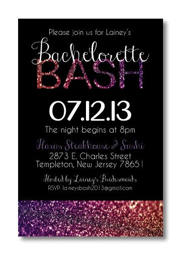 Printable Bachelorette Invitation on Etsy, $14.00 this is what i want my invites to look like pink and glitter perfection