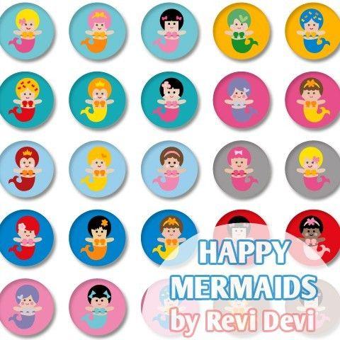 Happy Mermaid 16049  Printable Circle 1.313  by BlessedShop