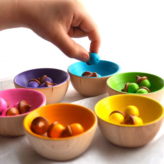 Back to School / Rainbow Sorting of Small Acorns, Educational Toy / Waldorf Wood Toy / Montessori Toy