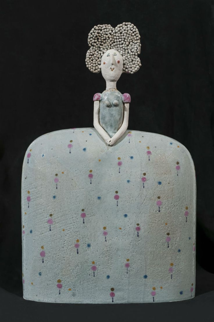 Decorative and humorous, Jane Muir's ceramic sculpture 'Lady, Pink Apple Dress' will be shown in #AAFBattersea by Lena Boyle Fine Art. 36 x 22 x 8cm, £540.