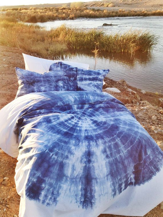 blue duvet set bohemian bedding twinxl twin soft bedding handdyed dorm bedding boho bedding
