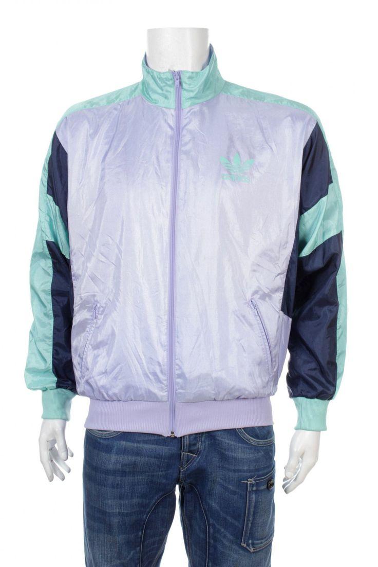 Vintage 80s Adidas Trefoil Windbreaker jacket Hip Hop Rap Style Color Block Purple/Blue/Green Size D7 M/L by VapeoVintage on Etsy