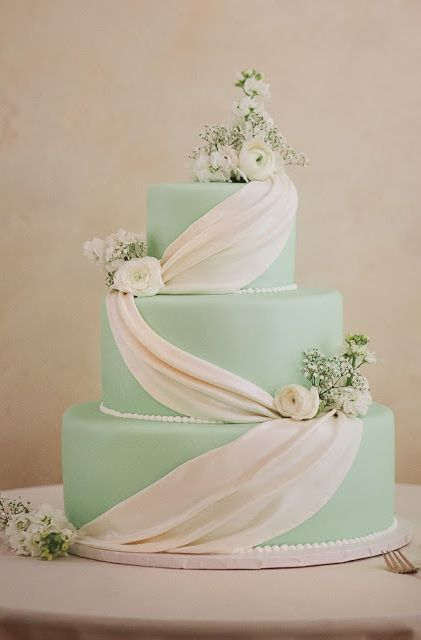 Mint green cake. View more tips & ideas on our Facebook Page : https://www.facebook.com/BoutiqueBridalParty