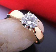 Qualidade da marca new rose Banhado A Ouro Classic 4 garras 1.2 quilate de diamante anéis de casamento simulado para as mulheres(Hong Kong)