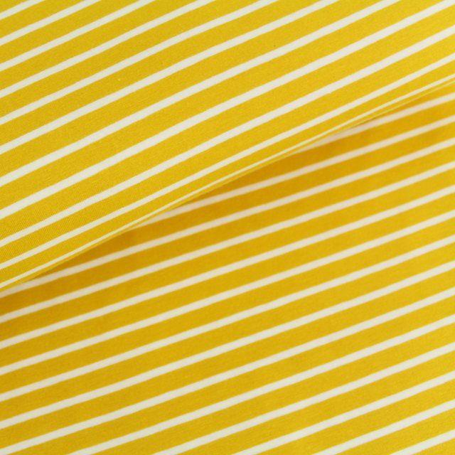 Biojersey Streifen - senfgelb