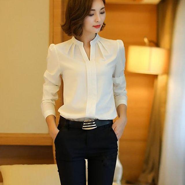 Женщины блузки новое поступление мода весна осень-корейски с рукавом шифон блузка дамы офис белые топы формальные