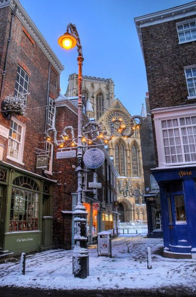 York Minster at Christmas, Peppergate Street, York, England  This is one of my favorite cities in the world! So old and filled with history. Wish I could go back!