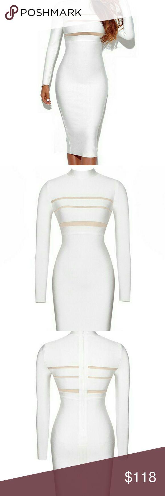 Winter White Bandage Dress Long sleeve bandage dress with sheer strioe cutout details.  Length: Approx 42inch/105cm Dresses Long Sleeve