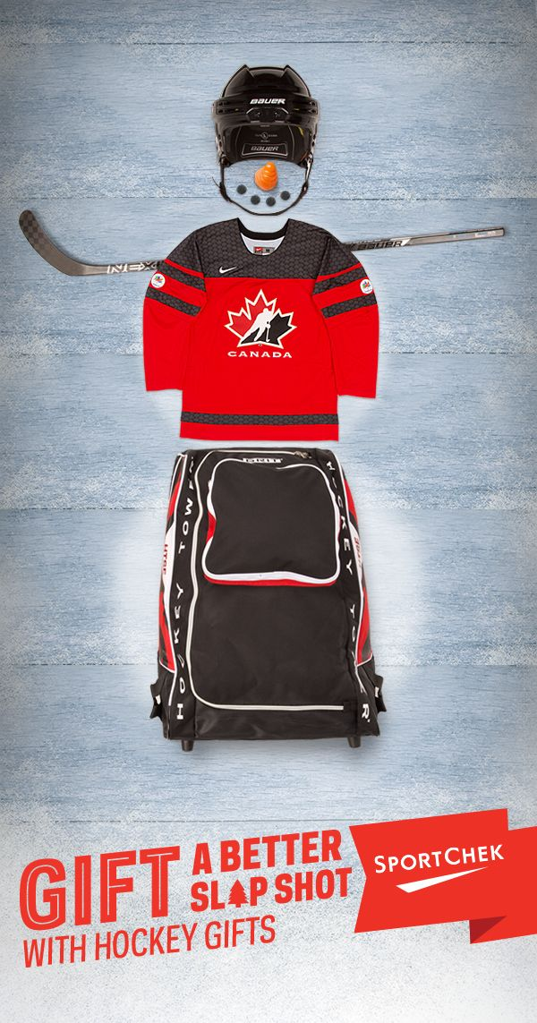 Have a hockey fan on your shopping list this holiday? Check out the hottest gifts of the season. #GiveABetterGift Top to bottom: 1. Bauer RE-AKT 75 Hockey Helmet 2. Bauer Nexus 1N Griptac Gen II Hockey Stick 3. Nike Team Canada 2016 Twill Jersey 4. Grit HTSE Medium Hockey Tower Bag