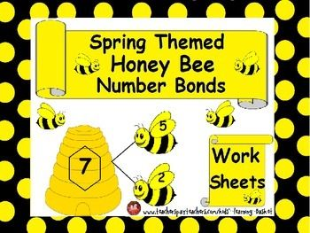 Spring Themed Math, Honey Bee Number Bonds Worksheets:Number bonds is a great way for students to learn about the relationship between numbers.This product will be a fun way to teach kids Number Bonds with these cute little hard working bees.Student will easily get the number bond concept  through pictures.I hope you will enjoy too.I have added some blank pages for if you want to make more stories for number bonds by yourself.Enjoy Spring!!!1.