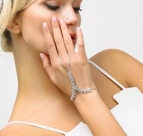 Katerina Cz Wedding Slave Bracelet | Shop bracelet connected ring, chain ring bracelet, Chain ring bracelets, Hand Bracelet, Hand Chain, Hand Jewelry, hand jewelry wedding, katerina, Ring Bracelet, Slave Bracelet, Slave Ring, wedding hand jewelry, Wedding Slave bracelet.