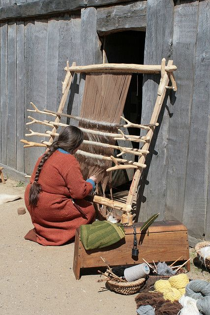 Loom at Haithabu. Look at the number of sheds she is working - like a four-harness loom.