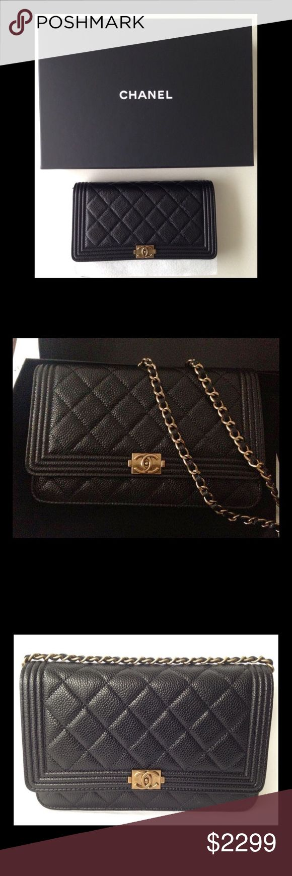 """CHANEL BOY WOC CAVIAR LEATHER WITH GOLD HARDWARE CHANEL BOY BLACK WOC WALLET ON CHAIN CAVIAR LEATHER WITH GOLD HARDWARE  Beautiful rich quilted black Caviar Leather with Iconic classic antique Gold hardware and topped off with the classic gold woven clain with black leather running through it.  Measures: 7 5/8"""" Long; 5"""" High;  23"""" Strap Drop  New condition; comes with original box, authenticity card, and dustbag.   ***NO TRADES***  ***PRICE ON POSH IS FIRM***  ***SERIOUS BUYERS ONLY…"""