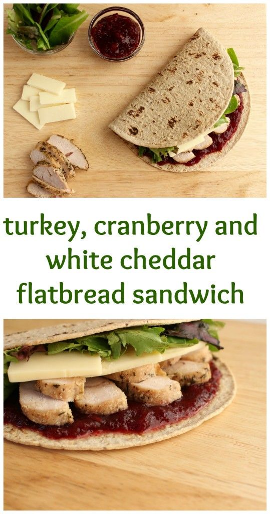 The flavors of Thanksgiving leftovers come together with Flatout Flatbread to make one delicious turkey, cranberry and white cheddar sandwich. @MomNutrition