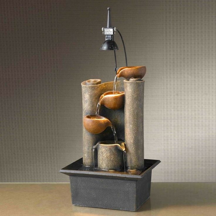 Captivating Seasons Furnishings Luci Di Relax Large Mini Pot Tabletop Fountain With  Light