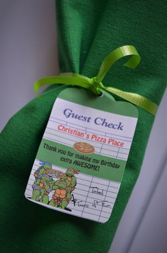 Teenage Mutant Ninja Turtle birthday favor tags, Teenage Mutant Ninja Turtle Birthday gift tags, Printable
