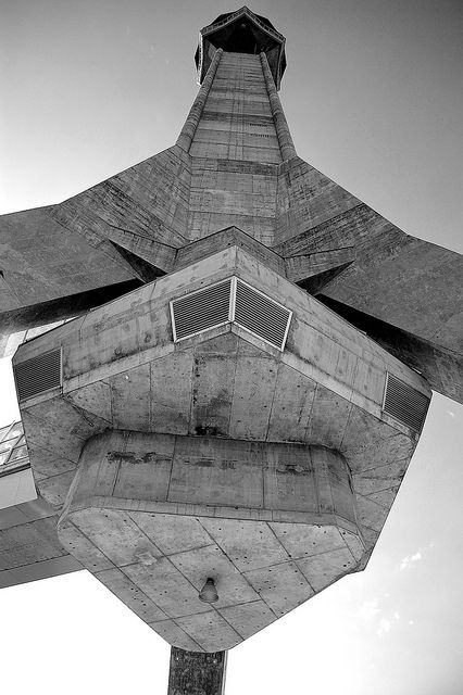 The Avala Tower by Uglješa Bogunović, Slobodan Janjić (architecture) is TV tower in Avala near Belgrade, 1960–66