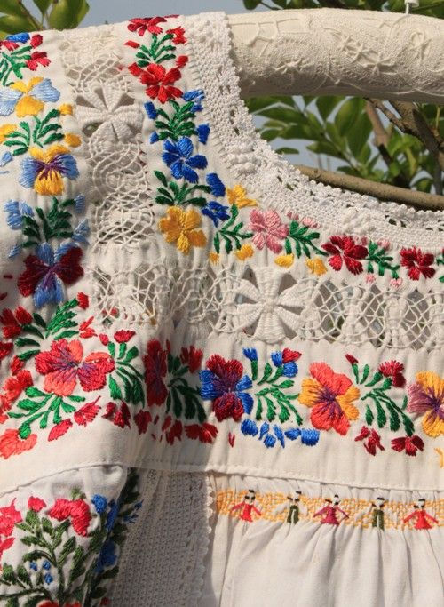 Beautiful Hungarian embroidery on a blouse
