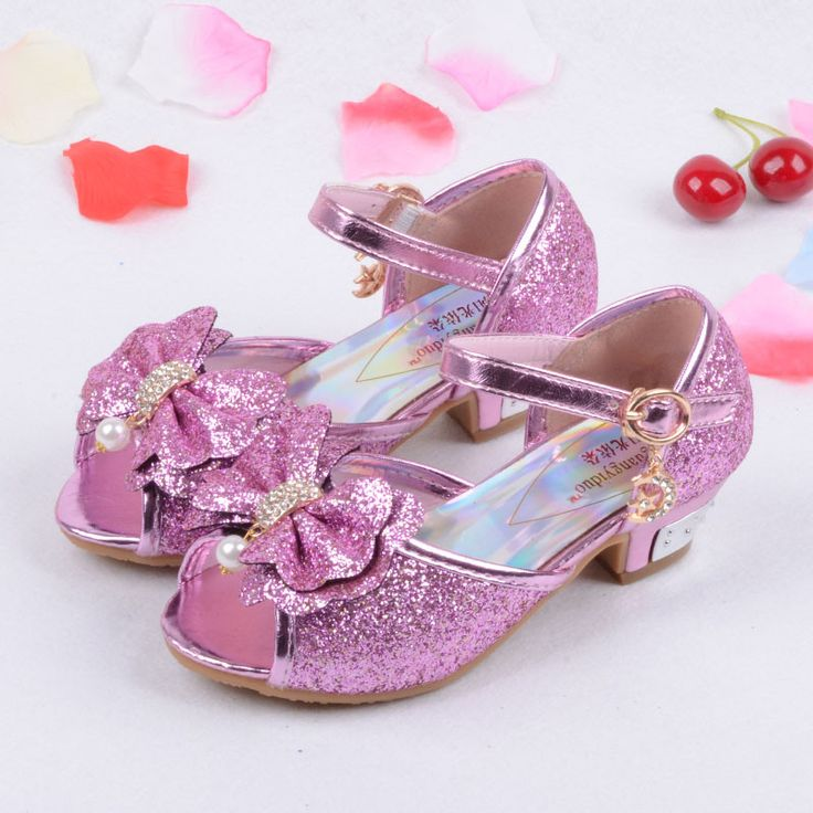 Enfants 2016 Children Princess Sandals Kids Girls Wedding Shoes High Heels Dress Shoes Party Shoes For Girls Pink Blue Gold