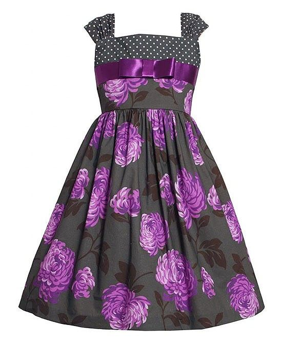 Bonnie Jean Grey Purple Flower Sleeveless Cotton Dress Girls 4-6x