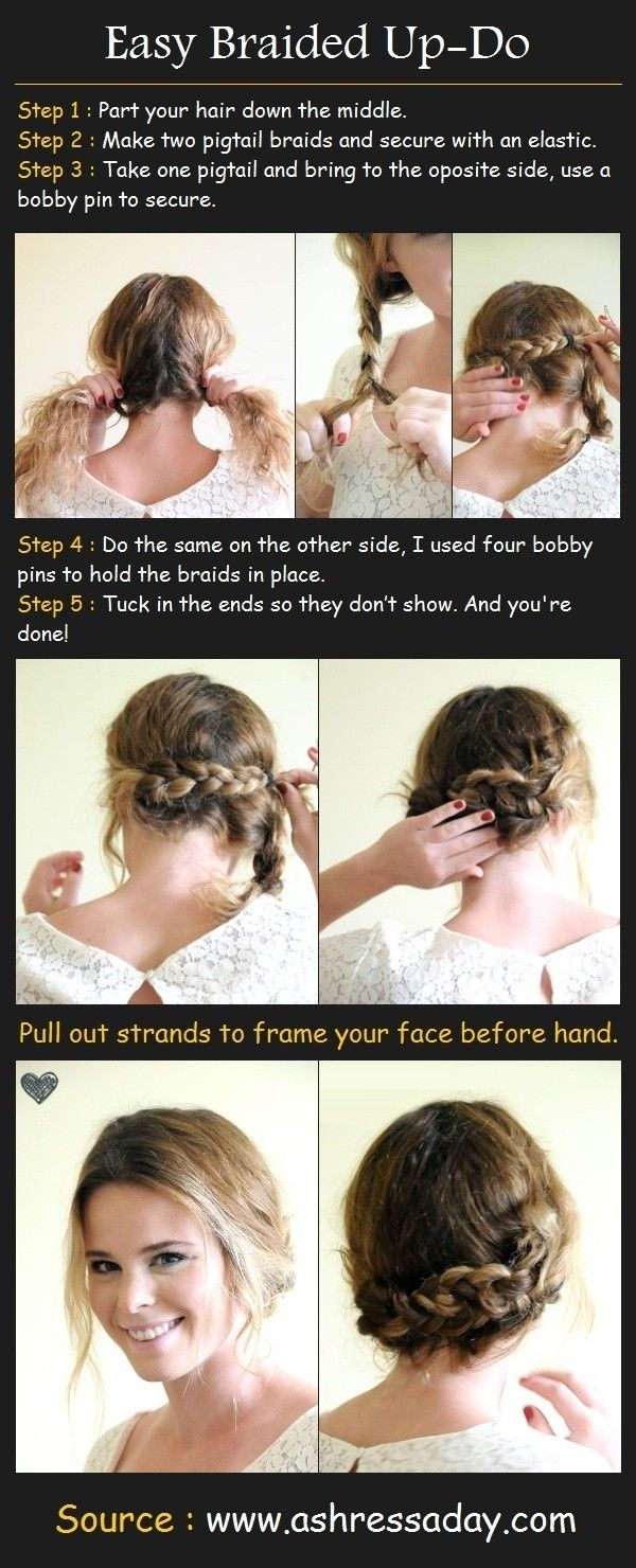 Easy Braided Up-Do for Medium Hair