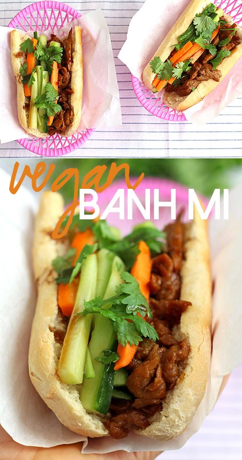 This amazing vegan banh mi is filled with pickled veggies, marinated seitan & hoisin sauce!