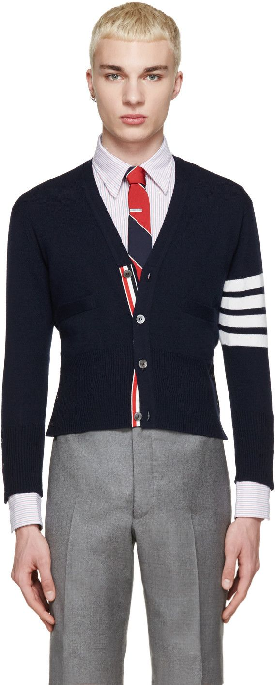 Thom Browne - Navy Cashmere Striped Armband Cardigan