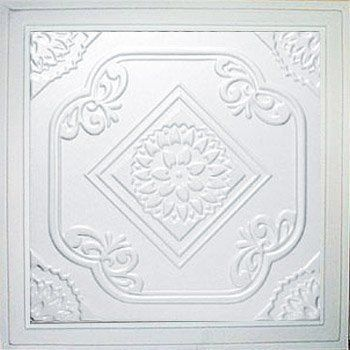 """Deli White (24x24"""" Pvc) Ceiling Tile by Antique Ceilings. $6.65. Universal Installation - Drop in Grid system, Glue-on, Nail-on. Tin like look from a modern material. Easy to cut. High quality PVC matterial. Can be painted with most any water or latex based paints. PVC ceiling tiles come in 24""""x24"""" size. Feather-light, easy to install, easy to clean, stain resistant, water resistant, dust free, and easy to cut. They can be cut with any house hold scissors. Can be installed..."""