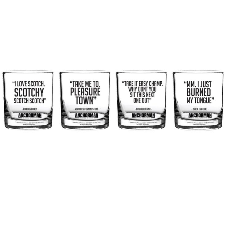 <p>Now fans of Anchorman can enjoy their Scotch in style with this set of novelty Scotch glasses, while being reminded of the hilarious Ron Burgundy phrases.</p> <p>Each of these four Scotch glasses features a hilarious phrase from Anchorman including, I Love Scotch. Scotchy Scotch Scotch, Take Me To Pleasure Town, Mm. I Just Burned My Tongue and Take It Easy Champ. Why Don't You Sit This Next One Out. - A.D.<br /><strong></strong></p> <p><strong>Features:</strong></p> <ul> <li>4 x Anchorman…