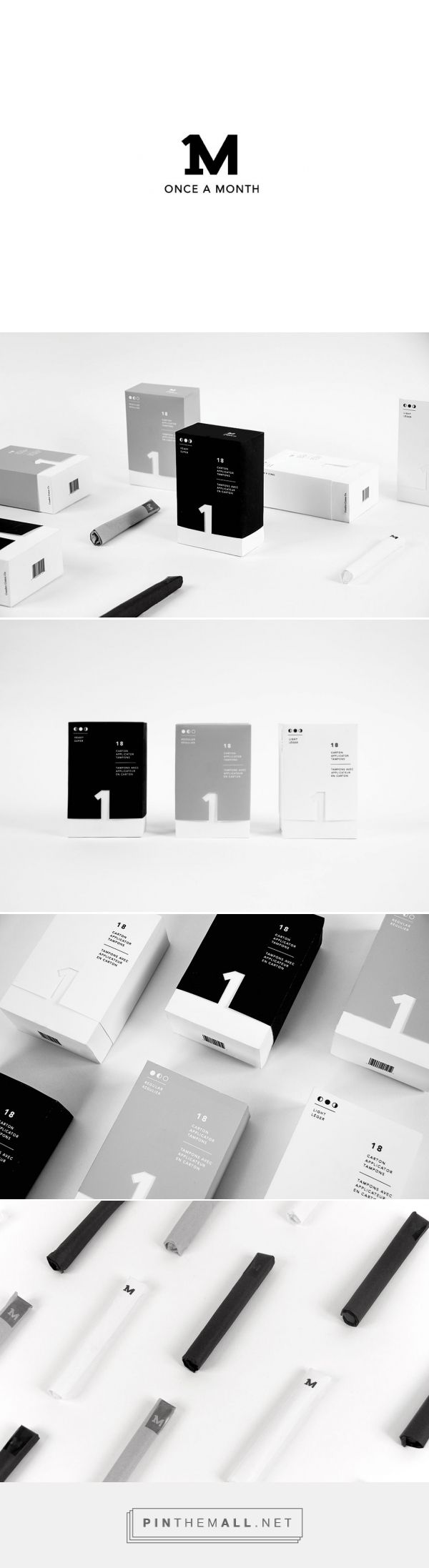 Once A Month Tampon packaging design concept by Olivia Chan (Canada) - http://www.packagingoftheworld.com/2016/09/once-month-tampon-packaging-student.html