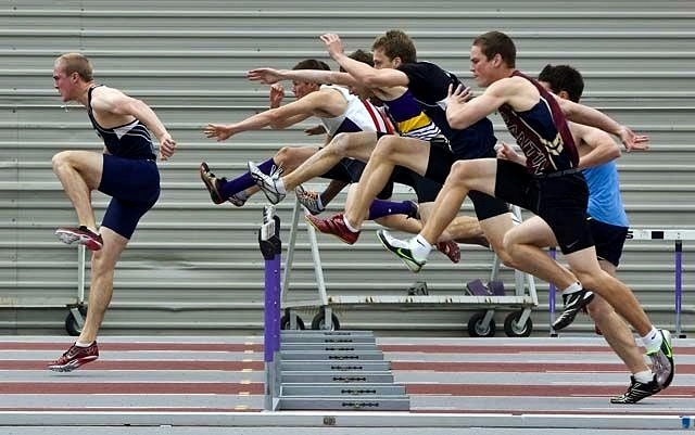 Grant Sparling of St. Anne's in Clinton leads the pack on the second hurdle in the senior boys 100m hurdles WOSSA final at TD Waterhouse Stadium in London, Ontario on Thursday, May 19, 2011. Sparling won the race. DEREK RUTTAN/THE LONDON FREE PRESS/QMI AGENCY