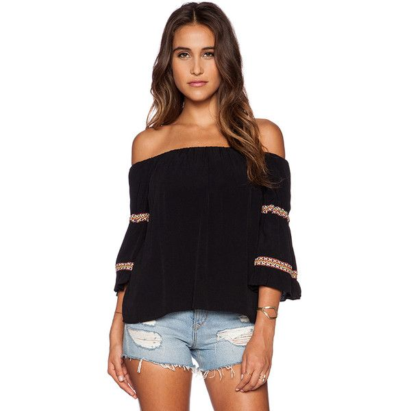 T-Bags LosAngeles Off Shoulder Top Tops (£100) ❤ liked on Polyvore featuring tops, fashion tops, embroidered top, black top, black off shoulder top, t-bags los angeles and off shoulder top