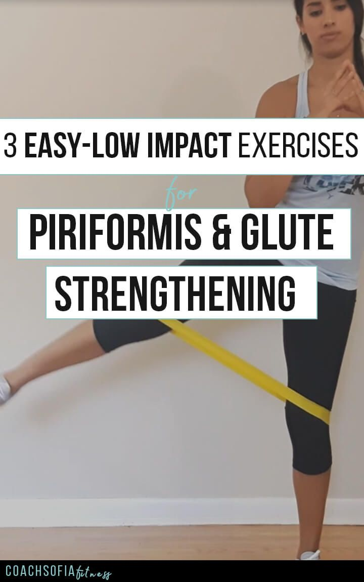 3 Easy low impact exercises for piriformis and glute strengthening. These are rehab exercises to help you activate the glute medius muscle and mobilize the piriformis muscle. You don't NEED a loop band, you can do this workout with your own bodyweight.  T