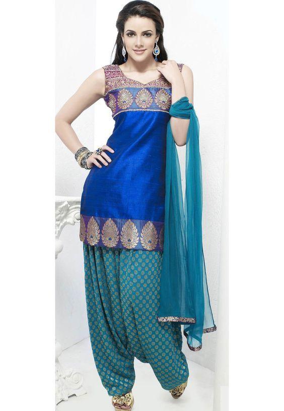 Royal blue and turquoise cotton silk patiala salwar kameez: