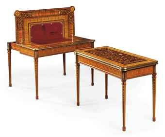 A PAIR OF ROYAL RUSSIAN BRASS-MOUNTED AMARANTH, TULIPWOOD AND MARQUETRY GAMES TABLES