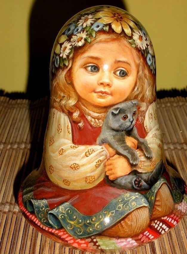 Русская матрешка-стакан кукла бабушка красоты девушка кошка ручная работа эксклюзив in Куклы и мягкие игрушки, Куклы, По типу | eBay