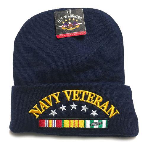U.S. Military U.S. NAVY VETERAN Navy Blue Basic Knit Long Beanie Hat Cap