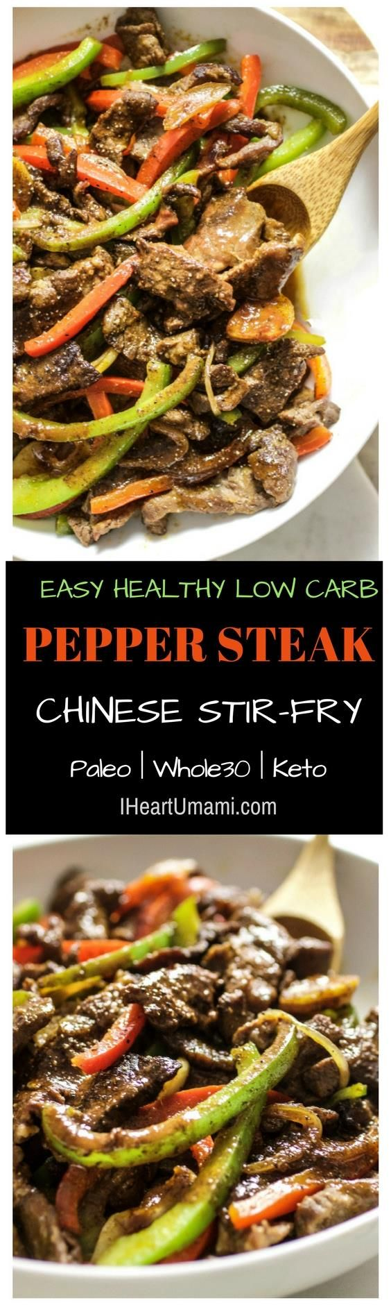 The best Saucy Paleo Chinese Pepper Steak Stir-Fry recipe with homemade Worcestershire steak sauce. This healthy Pepper Steak is easy, quick, low carb, and gluten-free with no added sugar. A healthy, delicious takeout recipe everyone in the family can enjoy! #Iheartumami #peppersteak #Stirfry #chineserecipe #easyrecipes #paleorecipes #Whole30peppersteak #Ketopeppersteak  via @iheartumami