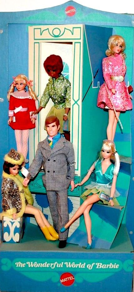 "The Wonderful World of Barbie store display. These beautiful sets were only available for purchase by select vendors to use as advertising displays in their stores. Each set included various combinations of mod Barbie dolls and friends modeling select fashions that were sold separately. Picture is Skipper, wearing ""Velvet Blush"" (1970-1); Christie, wearing ""City Sparklers"" (1970); Barbie, wearing ""Special Sparkle"" (1970); Francie, wearing ""Snake Charmers"" (1970); Ken, wearing ""Big Business…"