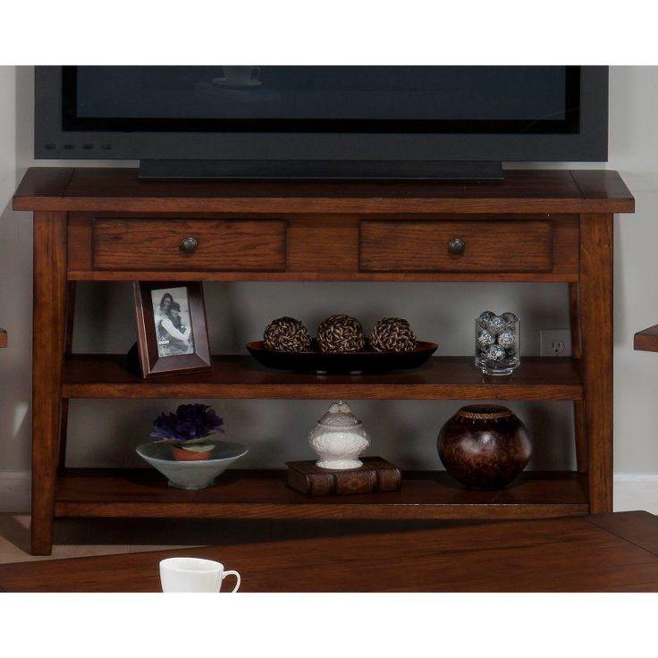 Jofran Clay County Sofa/Media Table - Medium Oak - 443-4