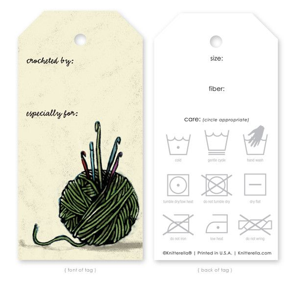 """Handmade by"" crochet tags, love them!"