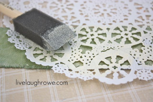 "Doily Stencil on Drop Cloth  painted ""Un solid"" sections"