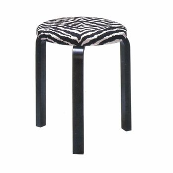 Aalto's iconic stool revamped with a zebra print seat. Artek Alvar Aalto Stool 60 with Upholstered Seat