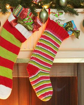 This bright and fun crochet stocking looks even better filled with Christmas goodies!