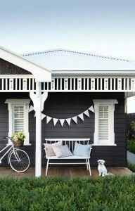 Charcoal exterior with crisp white contrast....love!