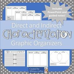 Direct and Indirect characterization can be tough for students to grasp.  These graphic organizers will make it so much easier for students to learn and for you to teach!
