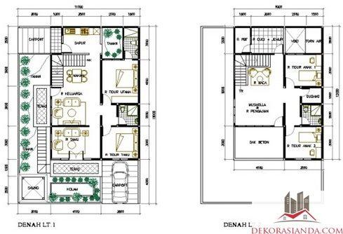 desain rumah minimalis type 70 2 lantai terbaru | denah
