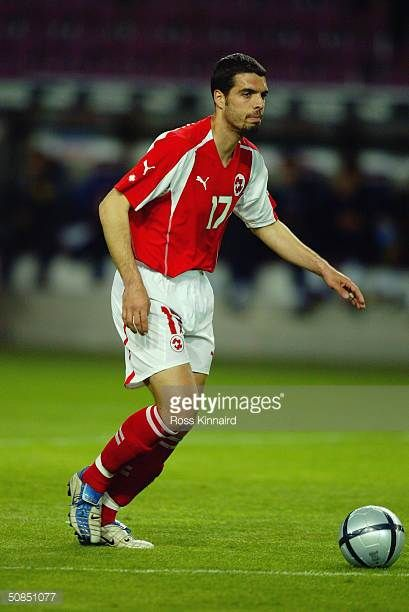 Fabio Celestini of Switzerland in action during the Friendly International match between Switzerland and Slovenia at The Stade de Geneve on April 28...